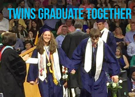 Twin brother and sisters graduate together