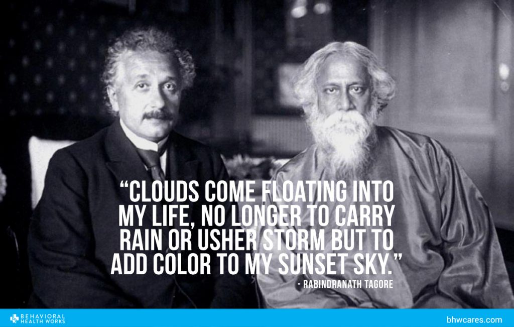 Albert Einstein with Tagore w quote